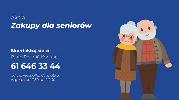 Grafika informuje o akcji - w jakich godzinach działa pomoc i jak się zgłosić. Po prawej stronie para seniorów - kobieta i mężczyzna, stoją obok siebie, uśmiechają się.