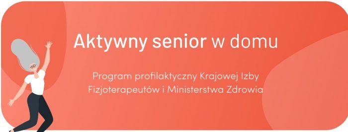 """Plakat przedstawia akcję """"Aktywny senior w domu"""", na pomarańczowym tle białe napisy, z lewej strony rysunek wesołej, podskakującej seniorki"""