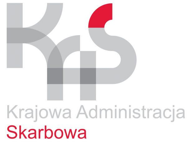Logotyp Krajowej Administracji Skarbowej - szare litery K, A i S na białym tle