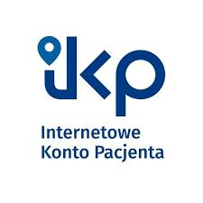 Logotyp Internetowego Konta Pacjenta - niebieski napis na białym tle