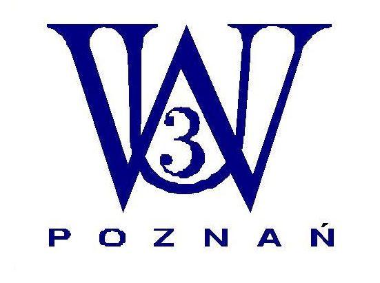 Logotyp Uniwersytetu Trzeciego Wieku w Poznaniu: granatowe litery U W oraz cyfra 3 na białym tle