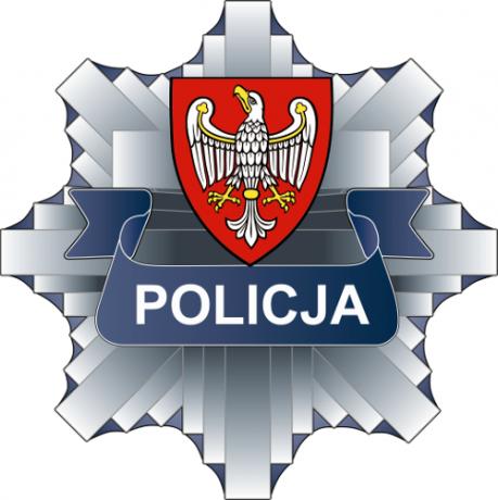 """Logotyp policja - na szarym ośmiokącie napis """"policja"""" i herb przedstawiający orła na czerwonym tle"""