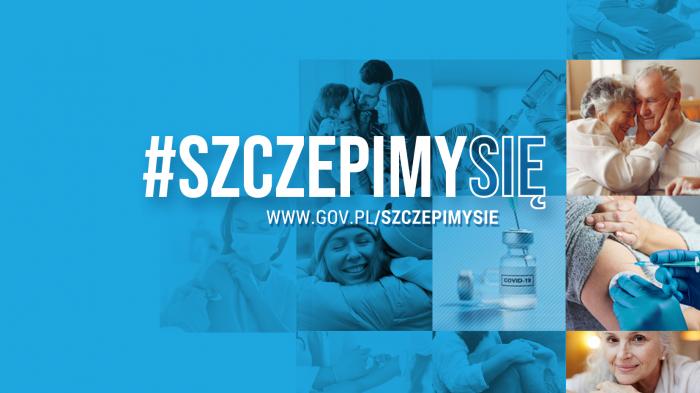 Grafika promująca kampanię. W centrum hasło: #SzczepimySię. W tle w kwadratowych polach zdjęcia: przytulające się osoby, kobieta w maseczce, szczepienie, szczepionka itp. Na część pól nałożony niebieski filtr.