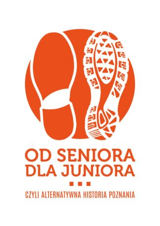 """Grafika promująca projekt """"Od seniora dla juniora"""". Na pomarańczowym tle biały odcisk buta osoby starszej i osoby młodszej. Pod odciskami pomarańczowy tytuł projektu."""