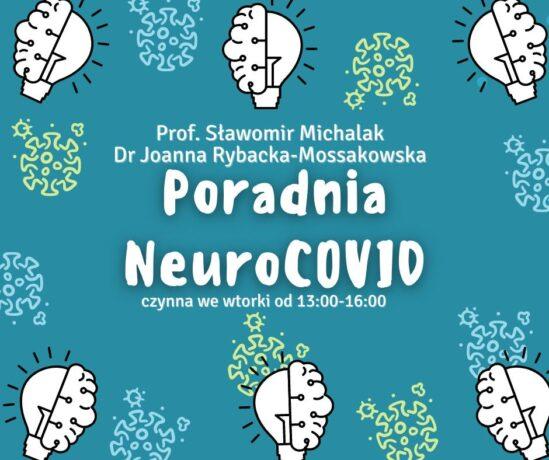 """Na grafice duży, biały napis """"Poradnia NeuroCOVID"""". Dookoła napisu, na niebieskim tle - kilka żarówek, które w połowie przypominają ludzki mózg."""
