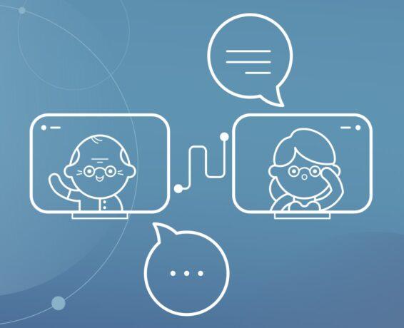 Grafika przedstawia zarys seniorki i seniora na ekranach komputerów na niebieskim - nad nimi i pod nimi dymki dialogowe.