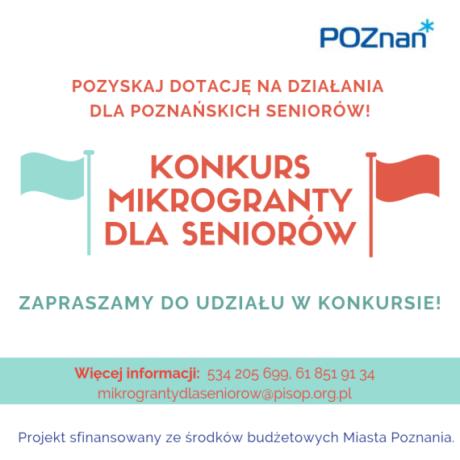 Grafika promująca projekt: w centrum tytuł konkurs, po lewej i prawej stronie - kolorowe flagi, poniżej, na zielonym polu informacje o kontakcie do organizatorów konkursu. W prawym górnym rogu - logotyp Miasta Poznania.
