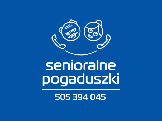 """Grafika: na granatowym tle schematyczne twarze seniora i seniorki rozmawiających przez telefon, pod twarzami - napis """"senioralne pogaduszki"""" oraz numer telefonu: 505 394 045."""