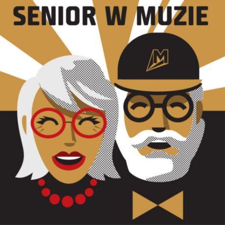 """Grafika promująca cykl """"Senior w Muzie"""". Na górze tytuł """"Senior w Muzie. Pod tytułem twarz seniorki i seniora. Seniorka ma siwe włosy i czerwone okulary, senior - siwą brodę i czapeczkę z daszkiem (na czapce logotyp Kina Muza)."""