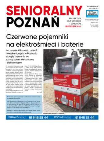 """Grafika przedstawia pierwszą stronę gazety. U góry - duży czerwono-czarny napis """"Senioralny Poznań"""". Pod nim - artykuł """"Czerwone pojemniki na elektrośmieci i baterie"""" oraz zdjęcie pojemnika na zużyty sprzęt."""