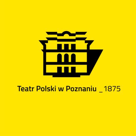 Logotyp Teatr Polskiego na żółtym tle.