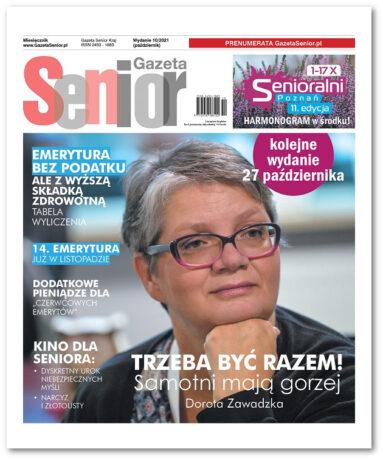Zrzut pierwszej strony październikowej Gazety Senior. Na górze szaro-czerwony tytuł miesięcznika, pod nim tytuły wybranych artykułów, w tle zdjęcie Doroty Zawadzkiej.