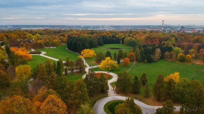 Zdjęcie parku Cytadela z lotu ptaka.