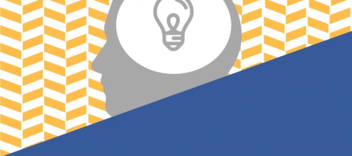 Grafika promująca konkurs. Na biało-żółtym polu zarys ludzkiej głowy, na nim, na białym polus 0 symbol żarówki. Pozostała część grafiki w kolorze niebieskim.
