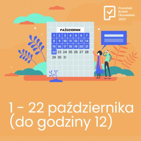 Grafika informująca o głosowaniu na projekty w ramach PBO 2022. Na pomarańczowym tle kalendarz z zaznaczonymi datami, kiedy można głosować, obok motywy roślinne, pod kalendarzem daty ramowe głosowania.