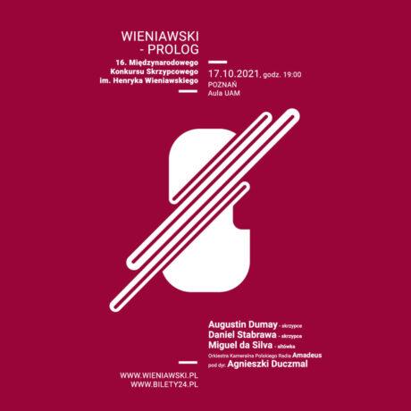 """Plakat koncertu """"Wieniawski - prolog"""": na czerwonym tle białe napisy informujące o wydarzeniu, w centrum biała grafika skrzypiec."""